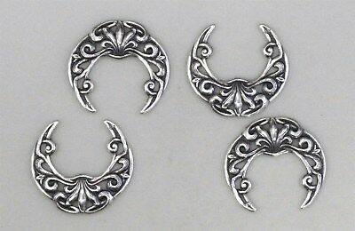 #3407 ANTIQUED SS/P SMALL OPEN FILIGREE CRESCENT SHAPE - 4 Pc Lot