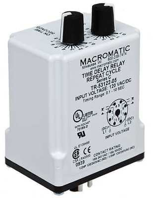 MACROMATIC TR-55122-08 Timer Relay, 60 sec., 8 Pin, 10A, DPDT, 120V