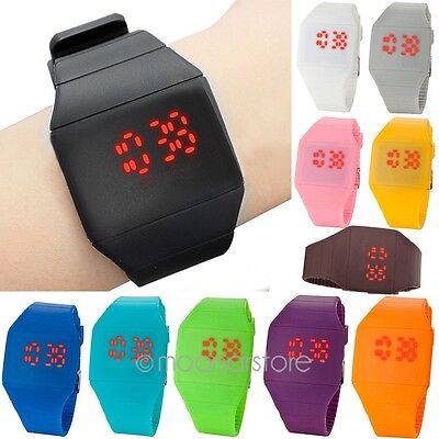 Fashion Unisex Ultra Thin LED Touch Screen Digital Display Rubber Wristwatch KJ8