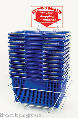 12 Standard Shopping Baskets - Chrome Handles - Metal Stand and Sign - Blue