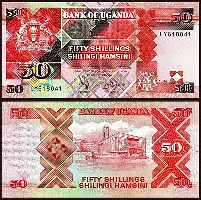 Uganda 50 Shillings 1994 Unc 2 Pcs Consecutive Pair P 30C