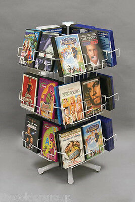 New 3 Tier 24 Pocket Counter Top Media DVD Wire Display Rack - White