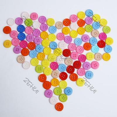 100pc Plastic Resin Round Buttons Mixed Color Sewing Button 4 holes 5 Sizes E71