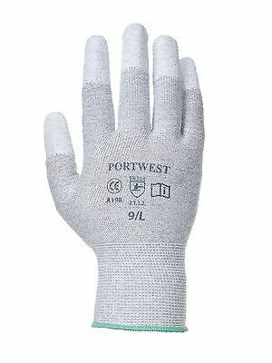 Portwest Antistatic PU Fingertip Work Gloves Workwear Electronics Assembly A198