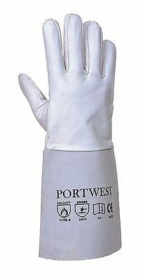 Portwest Leather Tig Welders Gauntlet Work Gloves Welding Safety Workwear A520