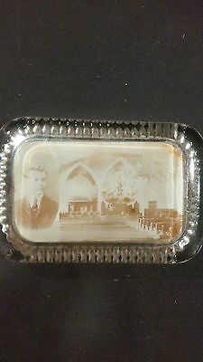 c1900 Antique Glass Maginfied Picture Paperweight Church Interior Landsdale PA