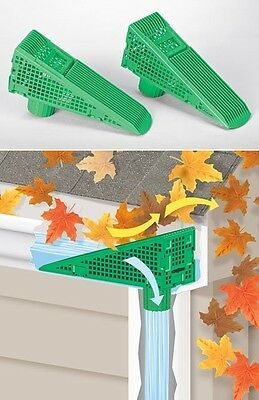 Lot of 2 screened Gutter downspout leaf rain debris guards wedges covers new