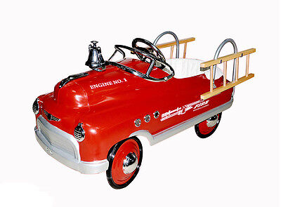 RED FIRE TRUCK COMET PEDAL CAR KIDS CHILDS RIDE ON TOY VINTAGE ANTIQUE STYLE
