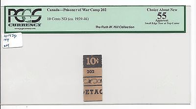 Canada WW2 POW Camp 202 10 Cents Unlisted in Campbell  PCGS 55 Choice About UNC