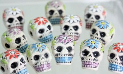 Clay SKULL Beads Engraved Flower- Teeth  - Crafts- Day of the dead- Gothic  x 10