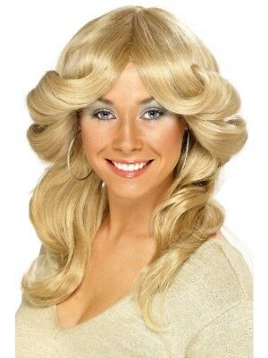Blonde 1970's Disco Flick Wig Adult Womens Smiffys Fancy Dress Costume