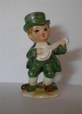 Vtg St Patricks Day Leprechaun Figurine Norcrest Irish Boy Playing a Banjo
