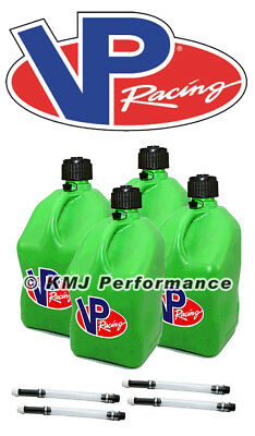 VP Racing Green Square Fuel Jug Diesel  Gas Can 4 Pack + 4 Fill Hoses Off Road