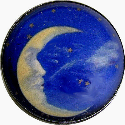 Crystal Dome Button Crescent Man in the Moon #8 Blowing the Wind FREE US SHIPPIN
