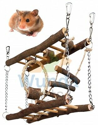 Trixie Hamster Gerbil Natural Wooden Hanging Suspension Bridge Cage Toy 61650