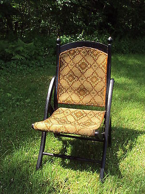Antique FOLDING CARPET CHAIR Brass finials