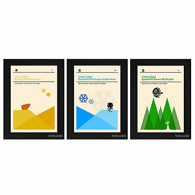 STAR WARS Episodes 4, 5 & 6 Minimalist Framed Film Movie Posters A4 Black Frame