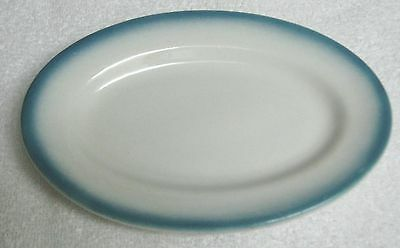 Restaurant Ware Caribe China Small Oval Plate Light Turquoise Border