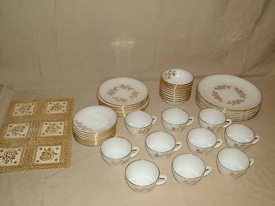 RARE VINTAGE 48pc FEDERAL MEADOW GOLD MILK GLASS DISH SET PLATES BOWLS CUPS