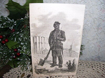VINTAGE BOOK PLATE PRINT BLACK CIVIL WAR SOLDIER SKETCH