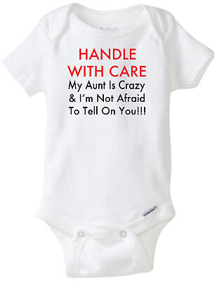 Handle With Care Crazy Aunt  Funny Novelty Baby Onesie Boy Girl Clothes Bodysuit