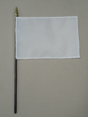 "White Blank Miniature Nylon Fabric Desk Hand Waving Table Top Flag 4"" X 6"""