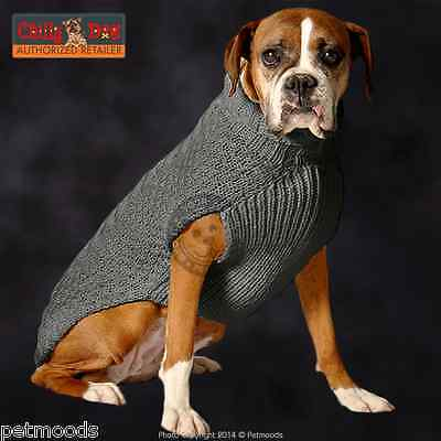 CHILLY DOG Sweater Cozy Gray Cable Knit Organic Wool XXS L