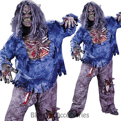 CL117 Mens Complete Zombie Scary Halloween Fancy Dress Adult Costume Plus