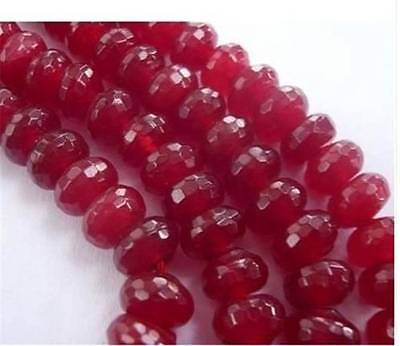 """5x8mm Faceted Red Ruby Roundel Loose Beads Gemstone 15"""""""