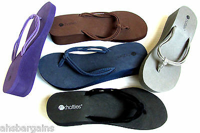 Womens EVA Thong Wedge Sandals Flip Flops Black Brown Gray Blue 5-11  NEW