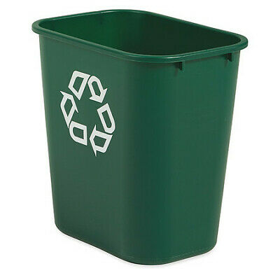 7 gal. Desk Recycling Container Rectangular, Green Plastic