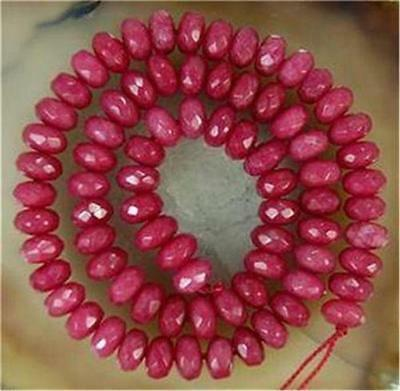 """5x8mm Faceted Brazil Ruby Abacus Gemstone Loose Beads 15"""" Strand"""