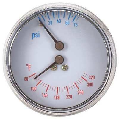 4CFC6 Boiler Gauge,Round,0-75 PSI,60 to 320 F