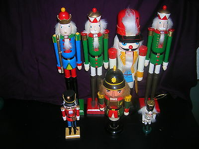 7 WOODEN NUTCRACKERS-ASSORTED SIZES