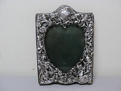 "RARE ANTIQUE ART NOUVEAU STERLING SILVER PICTURE FRAME 7 5/8"" x 5 3/8"", c. 1897"