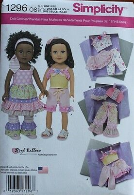 """18"""" GIRL DOLL CLOTHES Simplicity Sewing Pattern 1296 American Made NEW Uncut"""