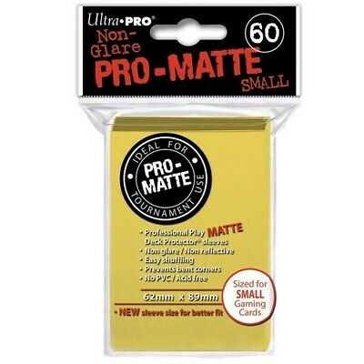 ULTRA PRO 60 PRO MATTE-SMALL SIZE YELLOW DECK PROTECTOR SLEEVES 84268 fit YuGiOh