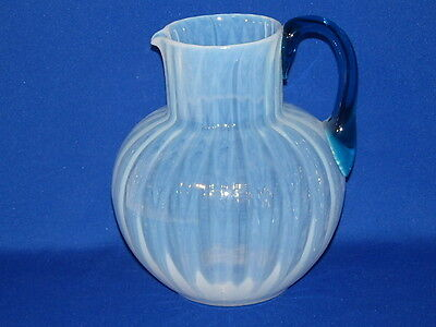 Phoenix Consolidated Art Glass Opalescent Pitcher Applied Blue Handle 7""