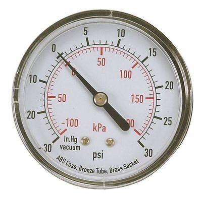 "Compound Gauge, 2"" Dial, 30"" Hg Vac to 30 psi, -100 to 200 kPa, 1/4"" NPT, Back"