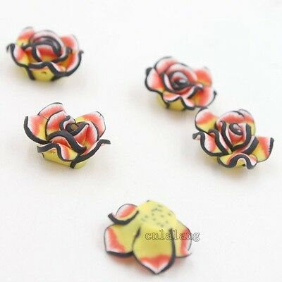 20x Pretty Rose Flower FIMO Polymer Clay Beads Findings Fit Jewelry 20*20*10mm C