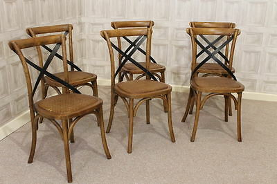 Set Of Six Solid Oak Bentwood Dining Chairs Kitchen Chairs With Metal Cross Back