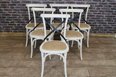 Set Of Four Shabby Chic Solid Oak Bentwood Dining Chairs With Metal Cross Back