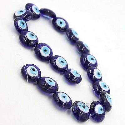 1string New Purple Oblate Evil Eye Lampwork Glass Charms Bead Jewelry Findings C