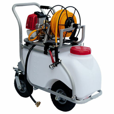 50L Power Weed Sprayer With Aluminium Trolley Garden Chemical Spray Pest Control