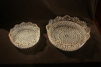 Pair Of Vintage Fan And Hobnail Pattern EAPG Bowls, Very Nice