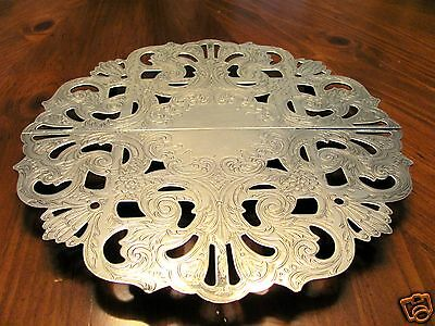 BEAUTIFUL 'TOWLE' EP LG EXPANDIBLE SILVER ORNATE FLORAL & SCROLLWORK TRIVET EUC