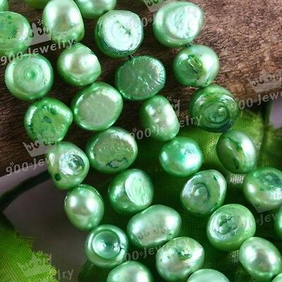 "9-10Mm Cultured Freshwater Glass Green Pearl Beads 15""l For Jewellery Craft Diy"