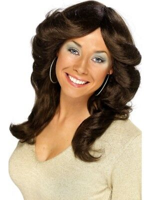Brown 1970's Disco Flick Wig Adult Womens Smiffys Fancy Dress Costume