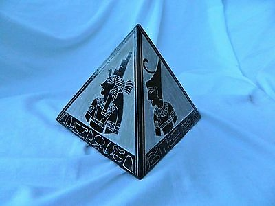 X-Large Heavy Egyptian Basalt Stone Pyramid Set Pharaoh Horus Isis 3 Piece #11