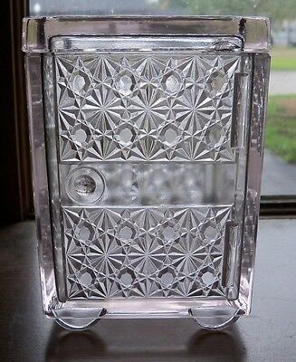 Antique Clear Pressed Glass Daisy & Button Pattern Safe Design Covered Dish